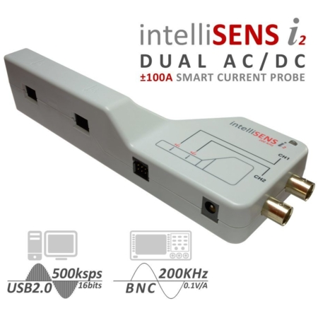 intelliSENS i2 AC DC current probe with 100A range for 3 phase measurement