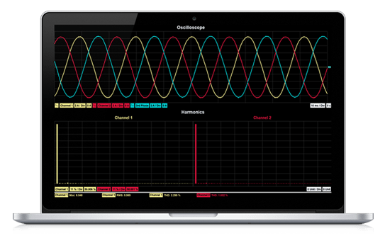 3 phase analysis using intellisens application software on laptop